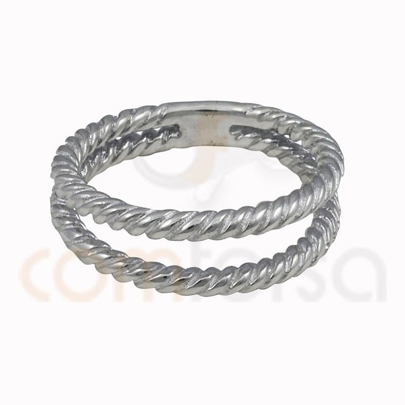 Double thread braided ring sterling silver 925