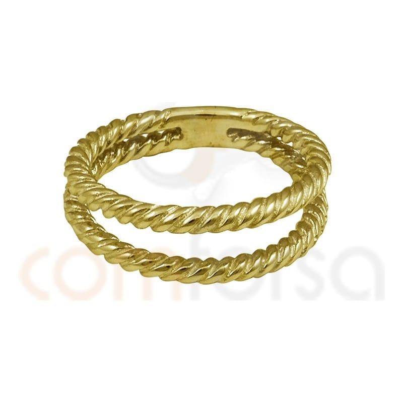 Anillo doble hilo trenzado plata chapada en oro