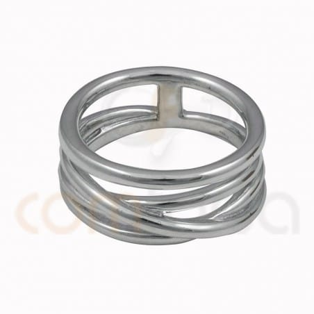 Interlated 4 wire ring sterling silver 925
