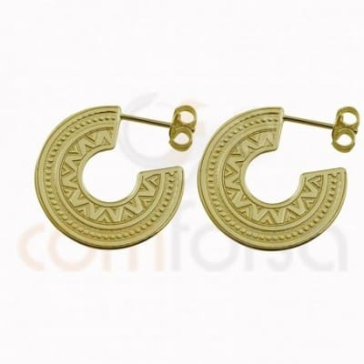 Ethnic hoop earring 22 mm sterling silver gold plated
