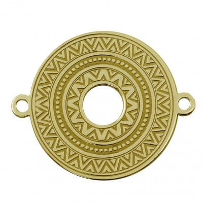 Round ethnic connector sterling silver 925