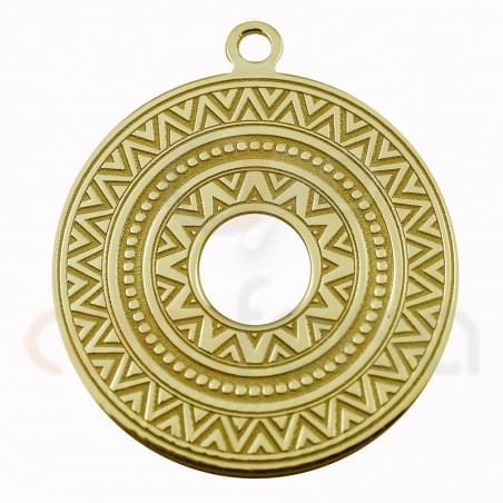 Round ehtnic pendant sterling silver 925