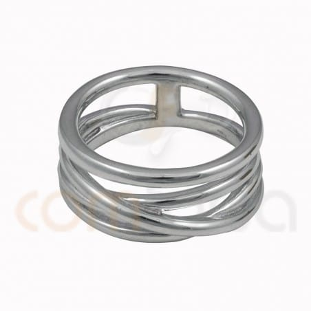 Interlated 4 wire ring sterling silver gold plated