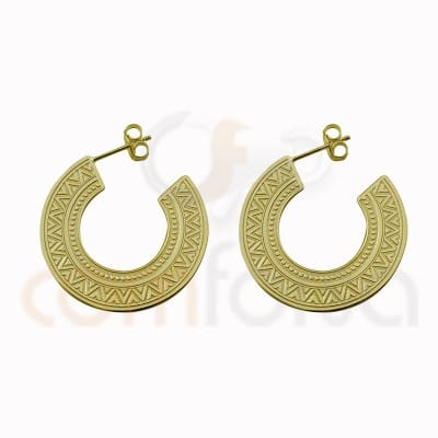 Ethnic hoop earring 30mm sterling silver 925