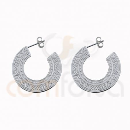 Ethnic hoop earring 30mm sterling silver gold plated