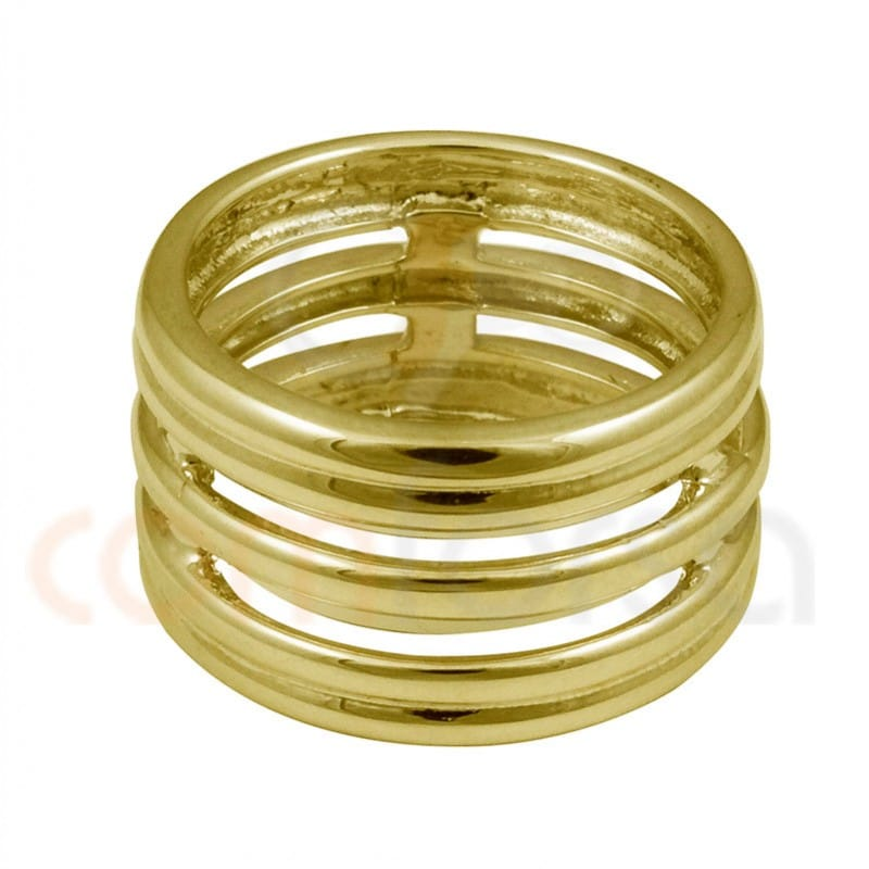 Wide ring with five sterling silver gold plated alliance