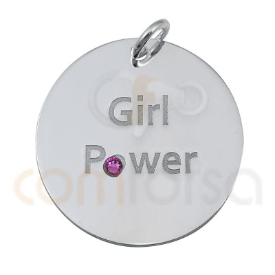 "Chapa ""GIRL POWER"" 20 mm plata 925"