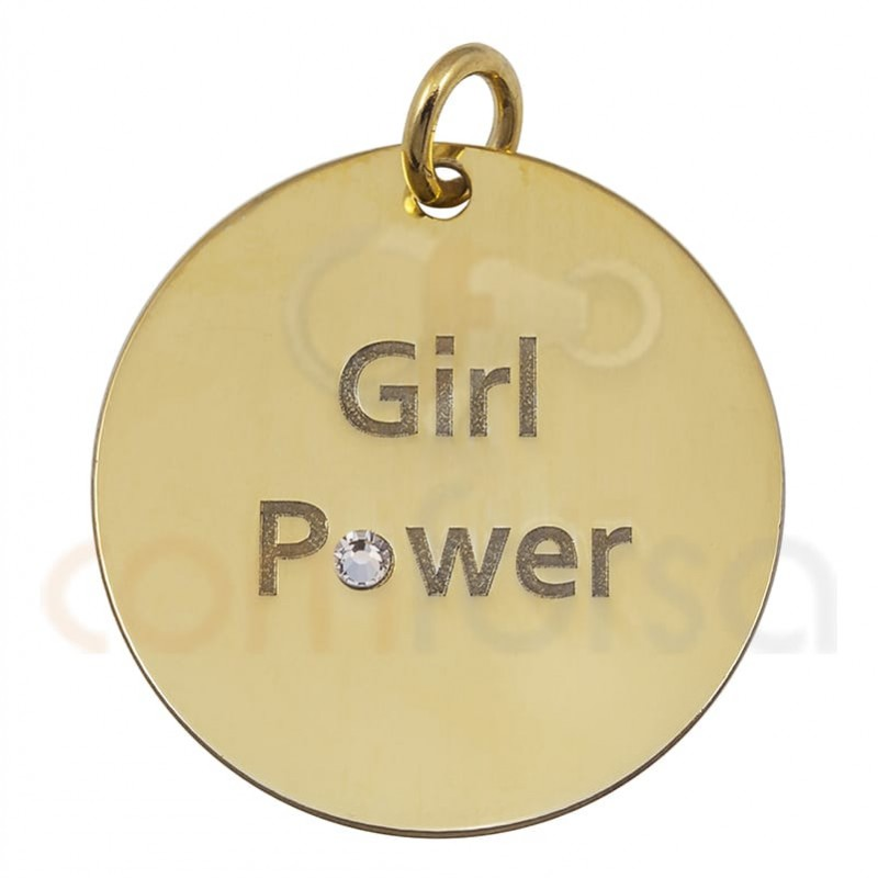 """""""GIRL POWER"""" pendant 20 mm sterling silver gold plated"""