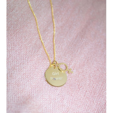 """Pendant """"GIRL POWER"""" 20 mm sterling silver  rose gold plated"""