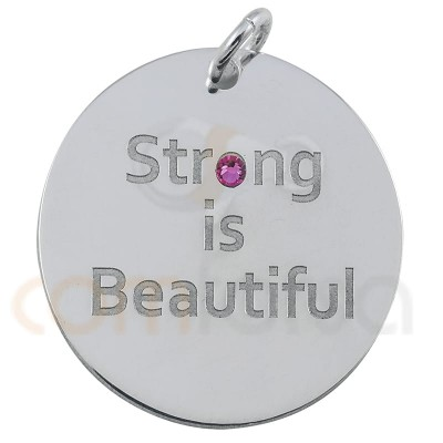``STRONG IS BEAUTIFUL´´pendant 20mm sterling silver 925