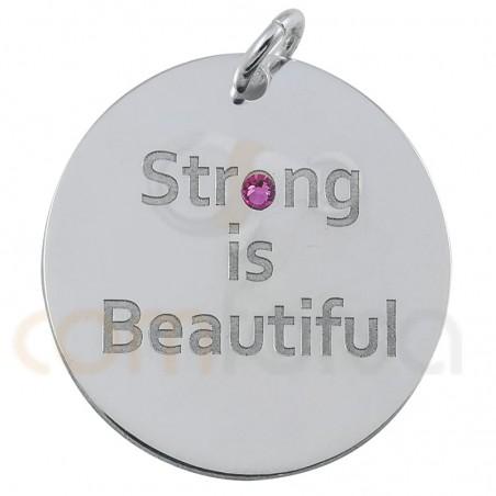 "Chapa ""Strong is Beautiful"" 20mm plata chapada en oro"
