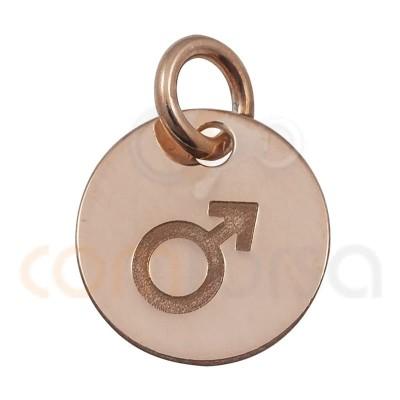 Chapa símbolo hombre 11 mm plata chapada en oro rosa