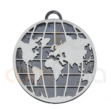 Rusty world pendant 25mm sterling silver 925