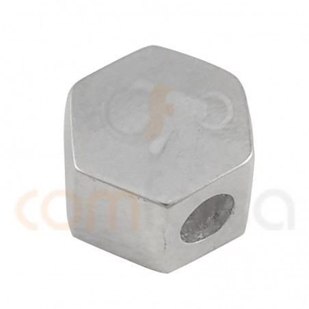 Hexagon connector 6 x 4 mm (2.2 int) sterling silver 925
