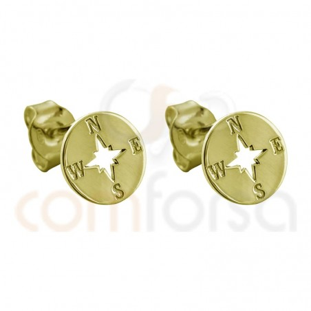 Sterling silver 925 gold-plated compass earring