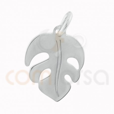 Monstera leaf pendant 10 x 12 mm sterling silver gold  plated