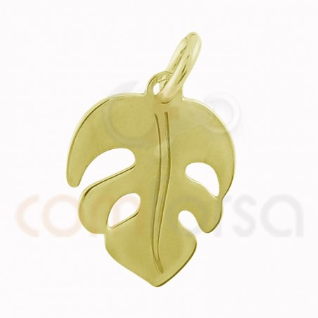 Monstera leaf pendant 10 x 12 mm sterling silver gold rose plated
