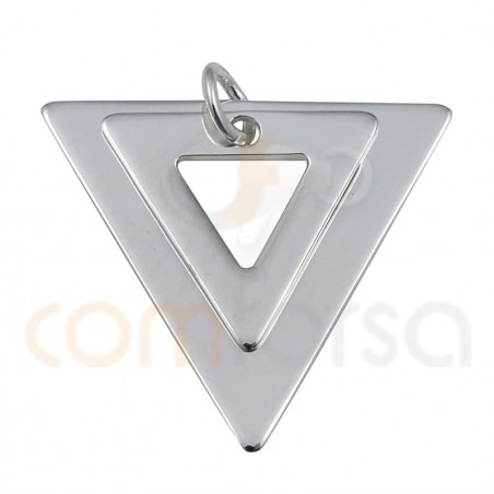 Double triangle pendant 18 x 17mm sterling silver 925
