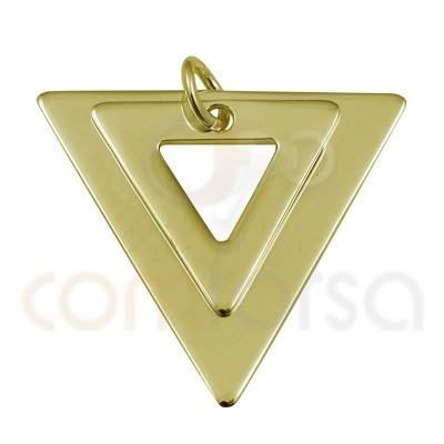 Double triangle pendant 18 x 17mm sterling silver gold plated