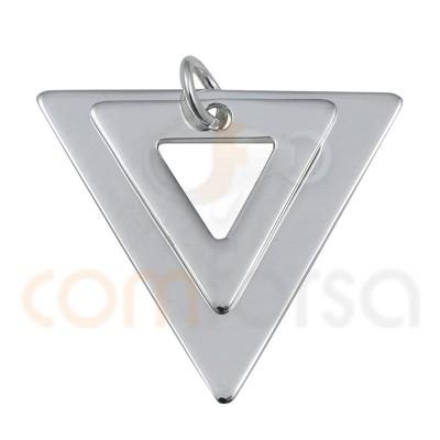 Colgante doble triángulo 18 x 17mm plata chapada oro rosa
