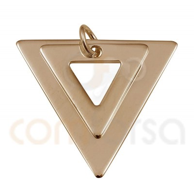 Double triangle pendant 18 x 17mm sterling silver gold rose plated