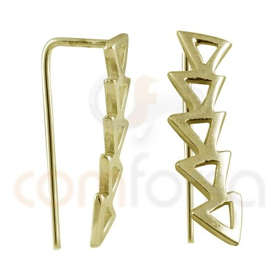 Sterling silver 925 gold-plated ear crawlers triangles 5 x 17mm