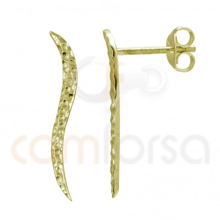 Sterling silver 925 gold-plated ear crawlers hammered wave 24mm