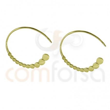 Criolla círculos planos 22mm plata chapada en oro