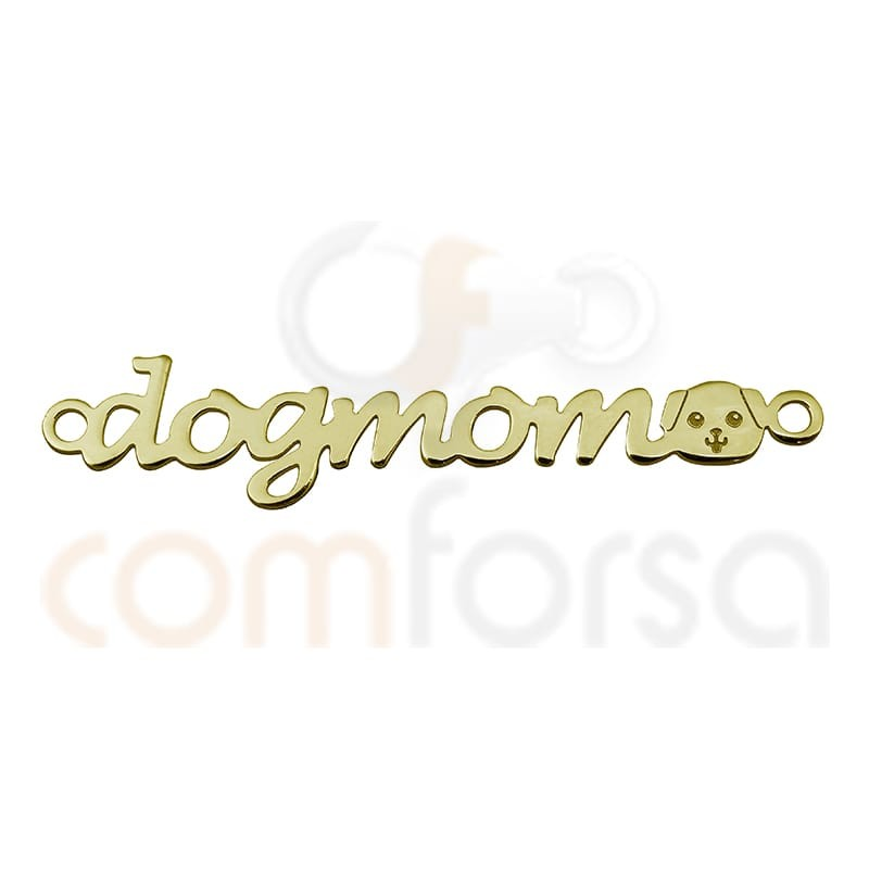 """Sterling silver 925 gold-plated """"Dogmom"""" connector"""