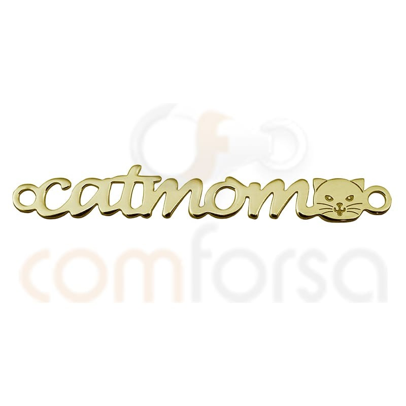 """Sterling silver 925 gold-plated """"Catmom"""" connector"""