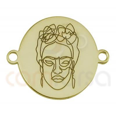 Frida Kahlo connector 15 mm sterling silver gold plated