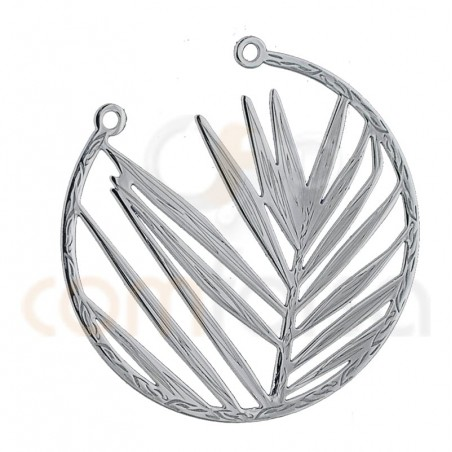 Opened leaf connector 25mm sterling silver 925ml
