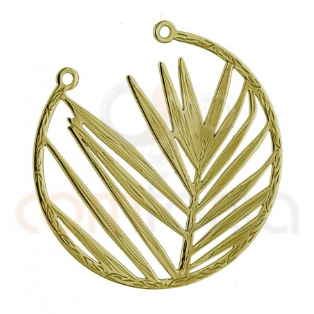Opened leaf connector  25 mm sterling silver gold plated