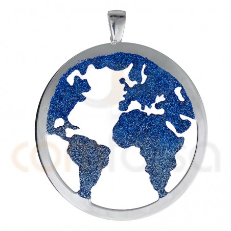 Blue glitter world pendant 45 mm sterling silver 925 ml