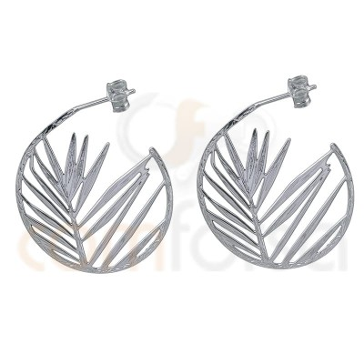 Hollow leaf earring 30 mm sterling silver gold plated