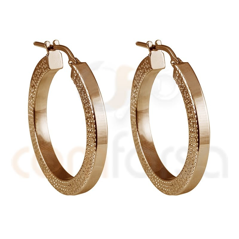 Sterling silver 925 rose gold-plated hoop earring with greek sides 26 mm
