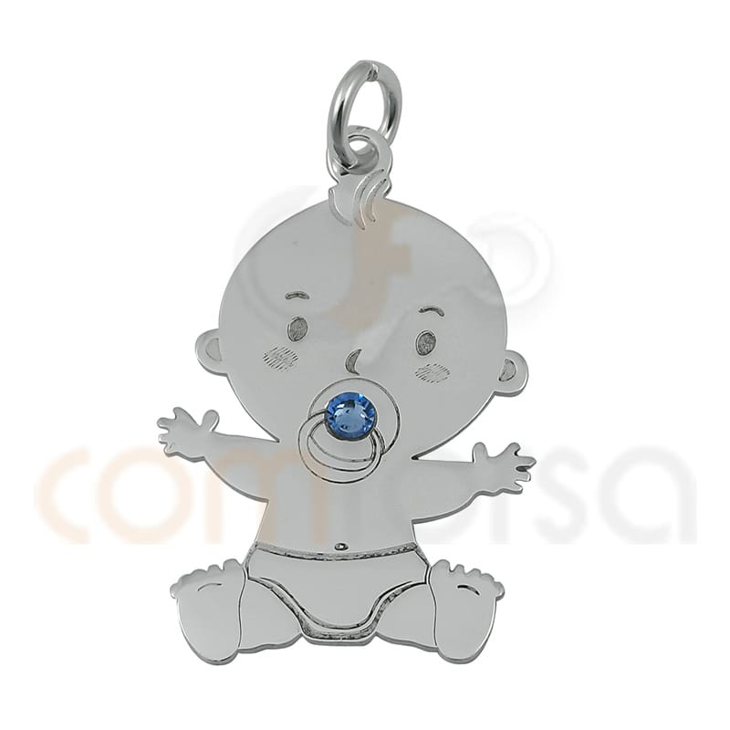 Baby girl with blue zirconia pendant 16 x 24 mm sterling silver 925