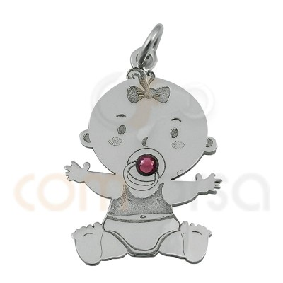 Baby girl with pink zirconia pendant 16 x 24 mm sterling silver 925