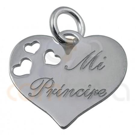 ``mi principe´´ 13mm Heart pendant sterling silver 925