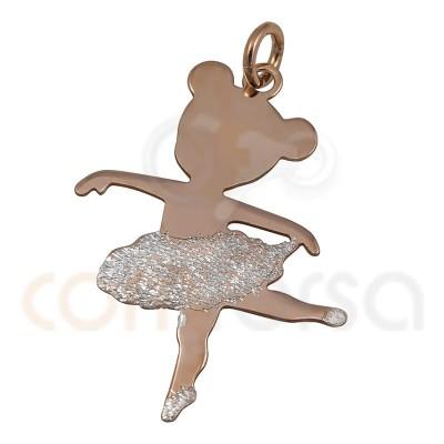 Colgante bailarina plata chapada en oro rosa y plata figura 3