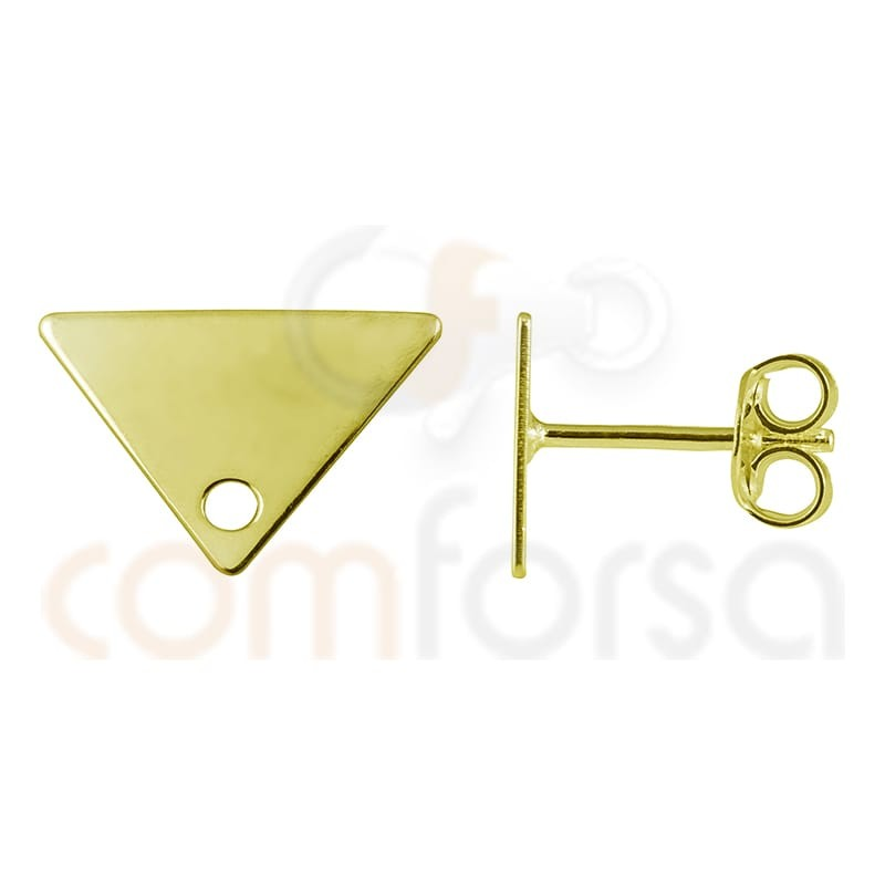 Sterling silver 925 gold-plated triangle earring 11 x 7 mm