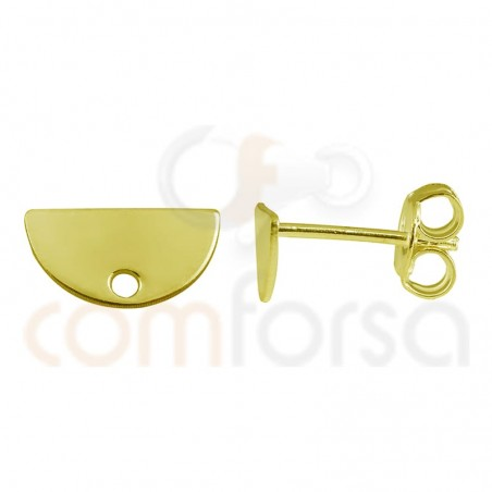 Sterling silver 925 gold-plated semi-circle earring 11 x 6mm