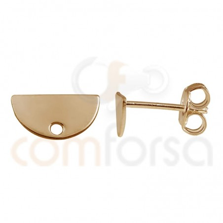 Sterling silver 925 rose gold-plated semi-circle earring 11 x 6 mm