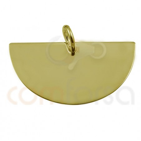 Medium circle pendant 22 x 12 mm sterling silver gold rose plated