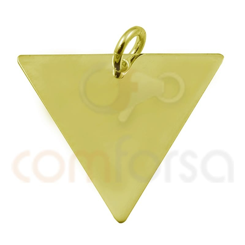 Triangular pendant 20x 17mm sterling silver gold  plated