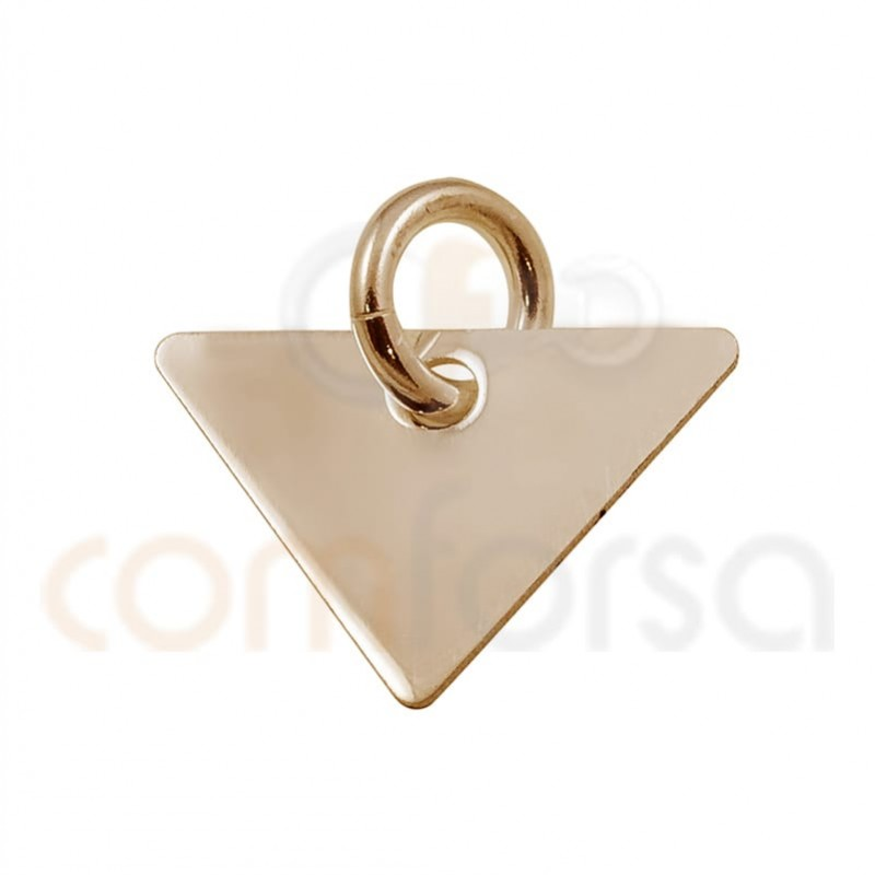 Triangular pendant 11x8mm sterling silver plated rose