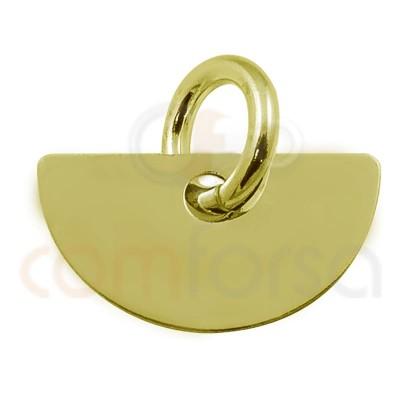 Colgante medio circulo 11 x 6 plata chapada en oro