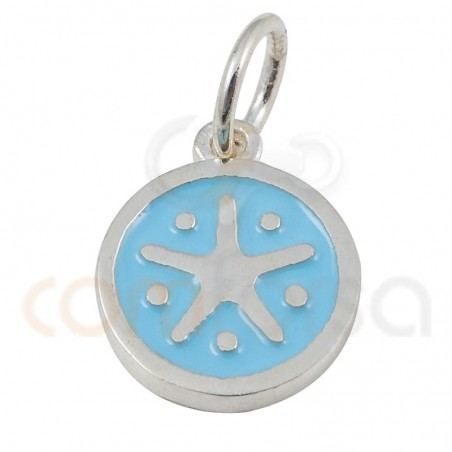 Starfish pendant with enamel 10mm sterling silver 925