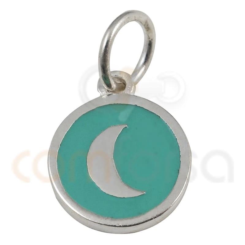 Colgante redondo luna con esmalte 10mm plata 925