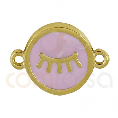 Eyeslashes connector with enamel 10mm sterling silver gold plated